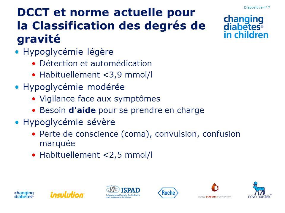 DCCT et norme actuelle pour la Classification des degrés de gravité Hypoglycémie légère Détection et automédication Habituellement <3,9 mmol/l Hypogly