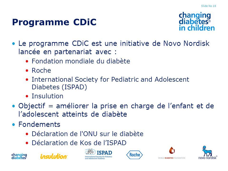 Slide No 16 Programme CDiC Le programme CDiC est une initiative de Novo Nordisk lancée en partenariat avec : Fondation mondiale du diabète Roche Inter