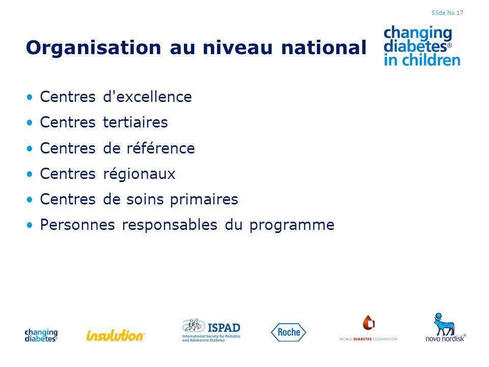 Slide No 17 Organisation au niveau national Centres d'excellence Centres tertiaires Centres de référence Centres régionaux Centres de soins primaires