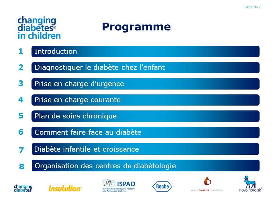 Slide No 13 Le diabète de l enfant Prévalence en hausse (dans le monde) Meilleure sensibilisation Amélioration de la survie des enfants atteints du diabète Meilleure prise en charge des enfants, et moins de cas de pneumonie, diarrhée, malnutrition, tuberculose et VIH Vous verrez des enfants atteints de diabète - si vous les cherchez !