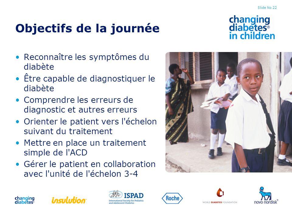 Slide No 22 Objectifs de la journée Reconnaître les symptômes du diabète Être capable de diagnostiquer le diabète Comprendre les erreurs de diagnostic