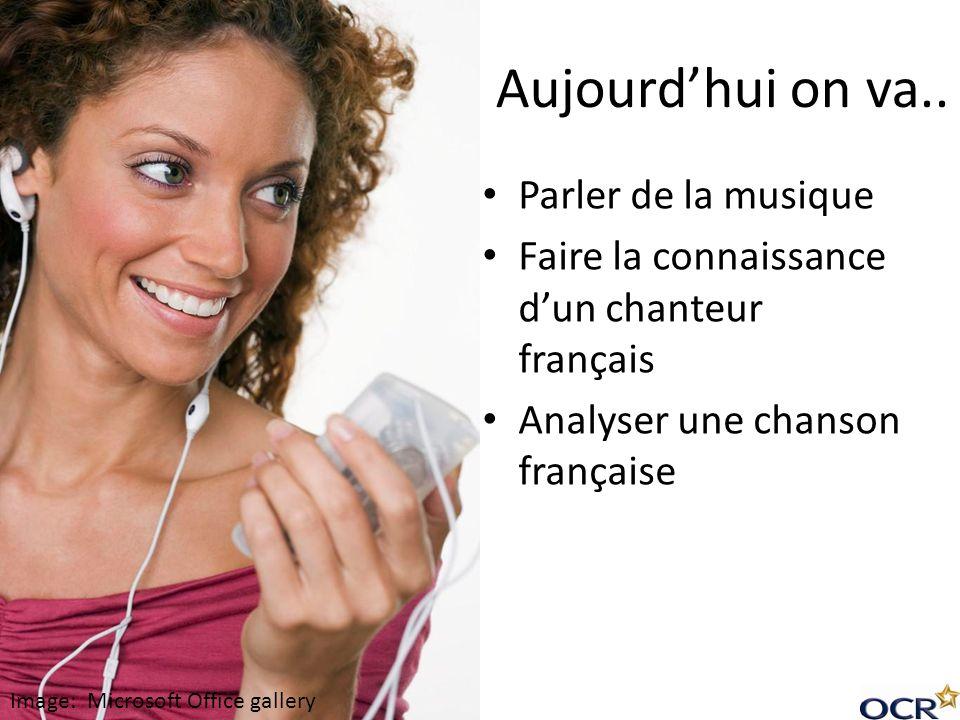 Aujourdhui on va.. Parler de la musique Faire la connaissance dun chanteur français Analyser une chanson française Image: Microsoft Office gallery