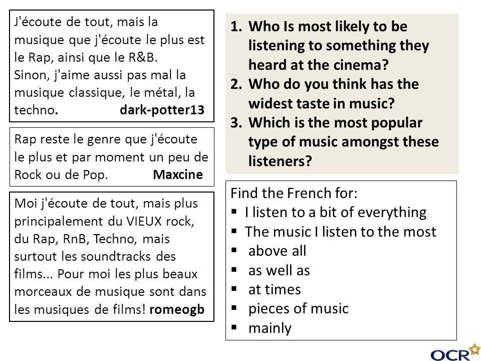 Que sais-tu sur la musique.