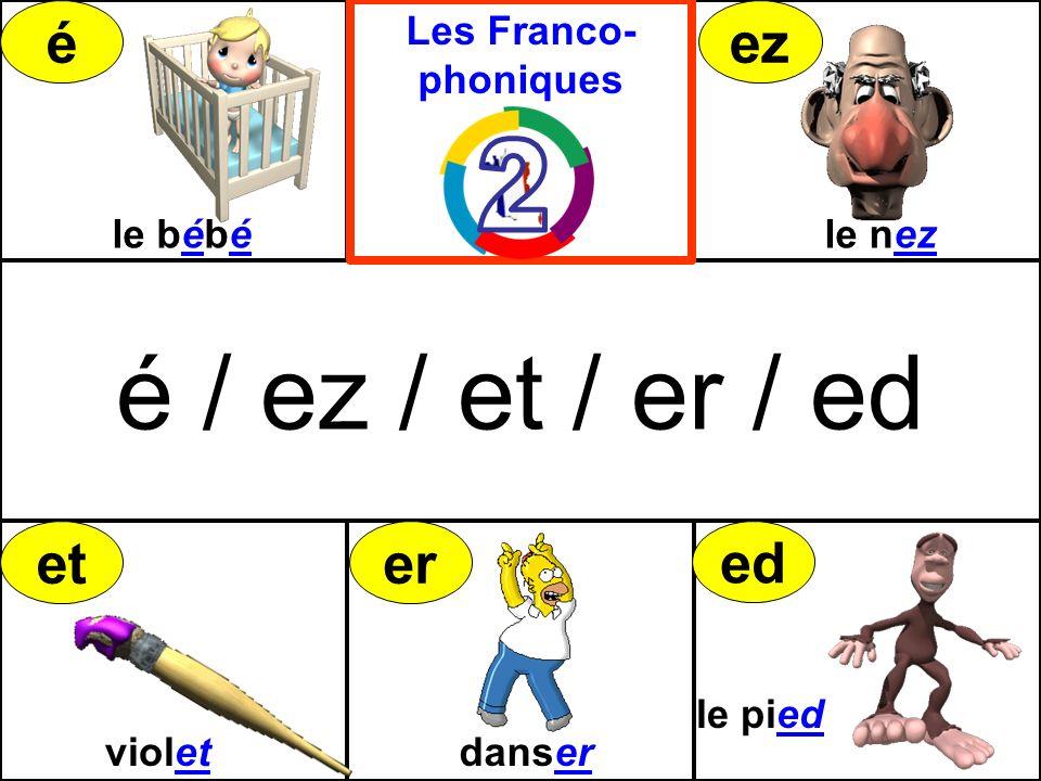 é / ez / et / er / ed violetdanser le pied le bébéle nez Les Franco- phoniques éez eter ed