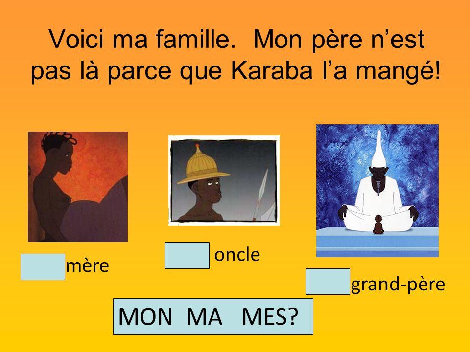 Voici ma famille. Mon père nest pas là parce que Karaba la mangé! Mon oncle Mon grand-père Ma mère MON MA MES?