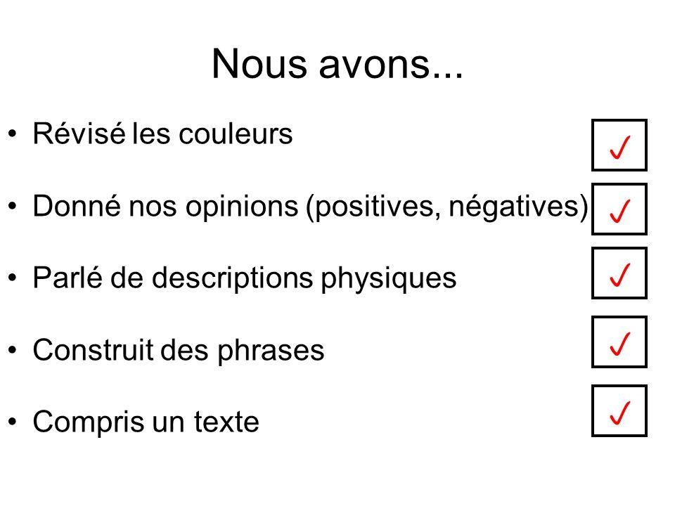 Nous avons... Révisé les couleurs Donné nos opinions (positives, négatives) Parlé de descriptions physiques Construit des phrases Compris un texte