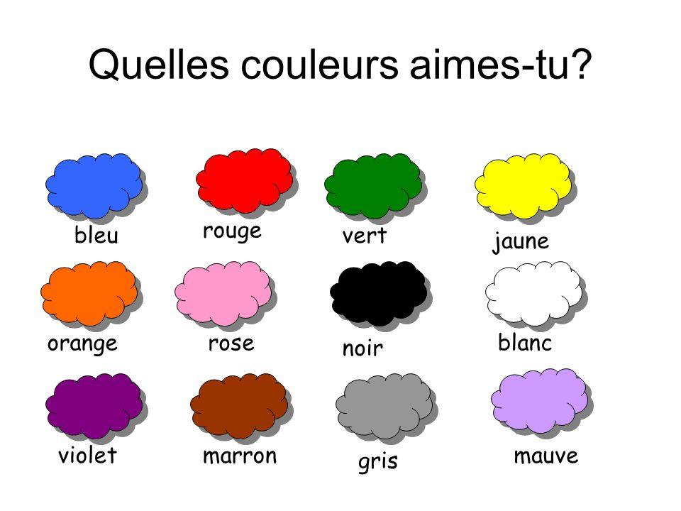 Quelles couleurs aimes-tu? bleu violet rose marron gris noir mauve blanc jaune vert rouge orange