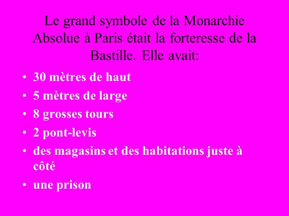 Le grand symbole de la Monarchie Absolue à Paris était la forteresse de la Bastille.