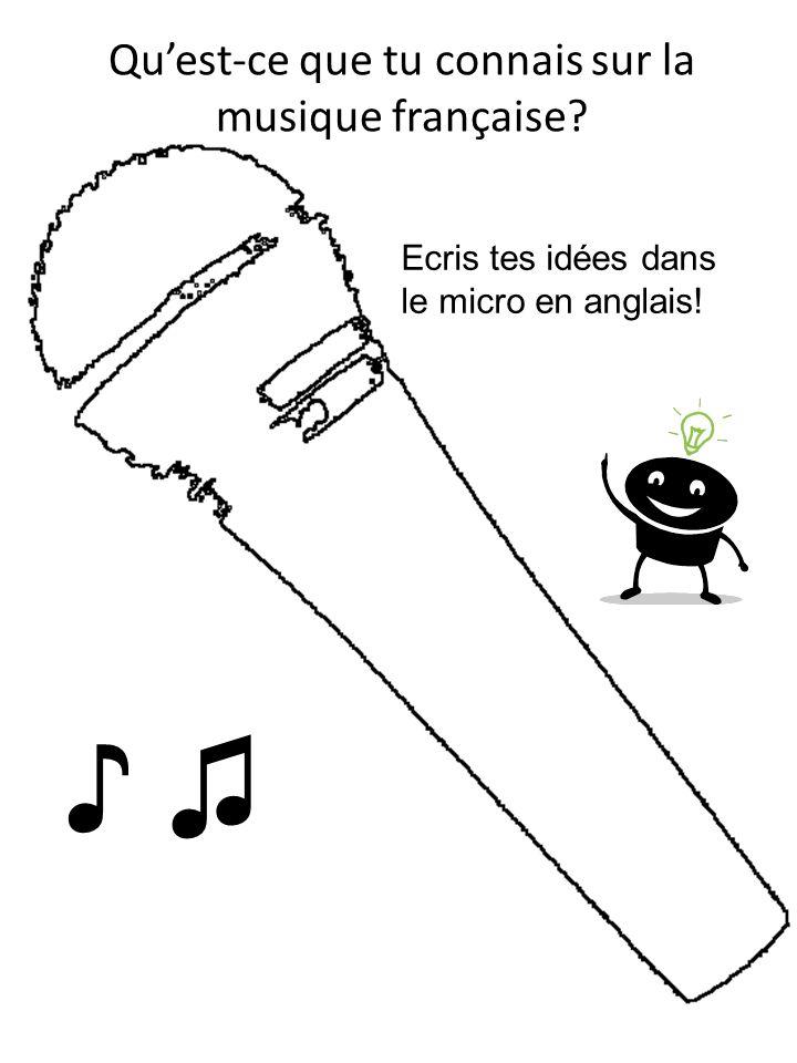 Quest-ce que tu connais sur la musique française? Ecris tes idées dans le micro en anglais!