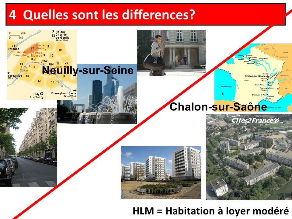 4 Quelles sont les differences HLM = Habitation à loyer modéré Chalon-sur-Saône Neuilly-sur-Seine