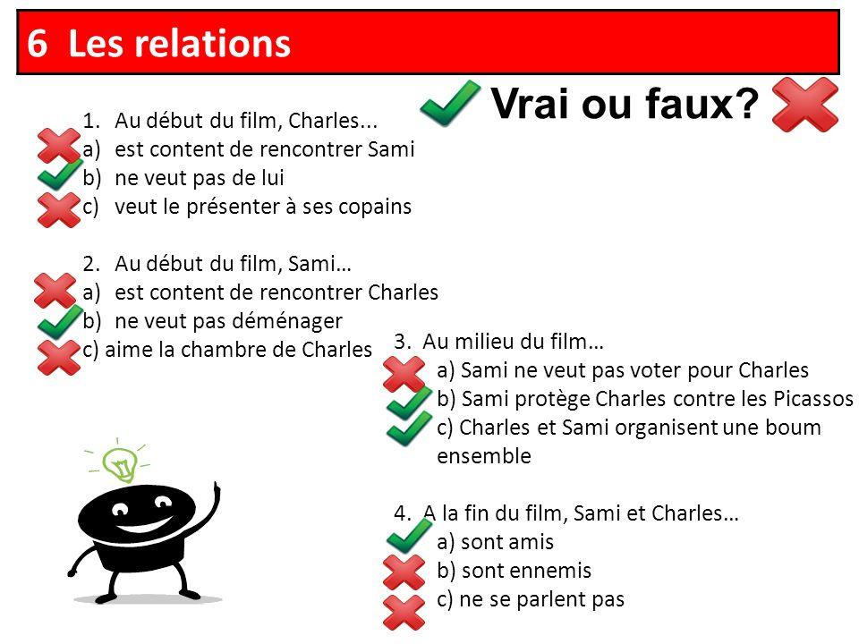 Vrai ou faux. 6 Les relations 1.Au début du film, Charles...