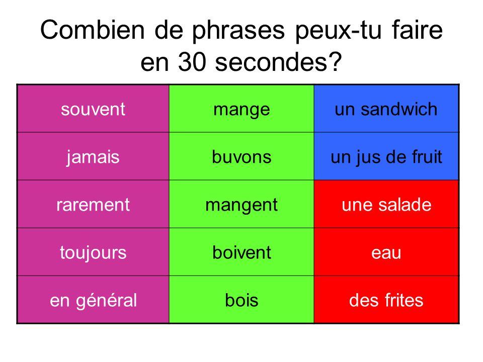 Combien de phrases peux-tu faire en 30 secondes? souventmangeun sandwich jamaisbuvonsun jus de fruit rarementmangentune salade toujoursboiventeau en g