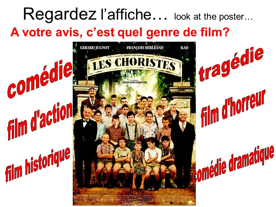 Regardez laffiche … look at the poster… A votre avis, cest quel genre de film?
