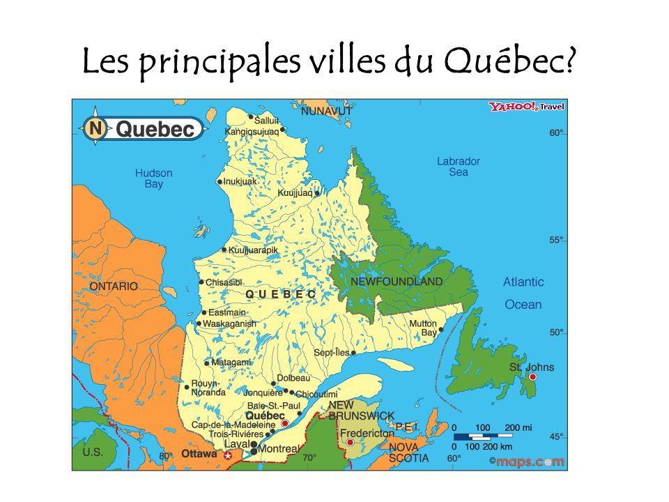 Les principales villes du Québec?