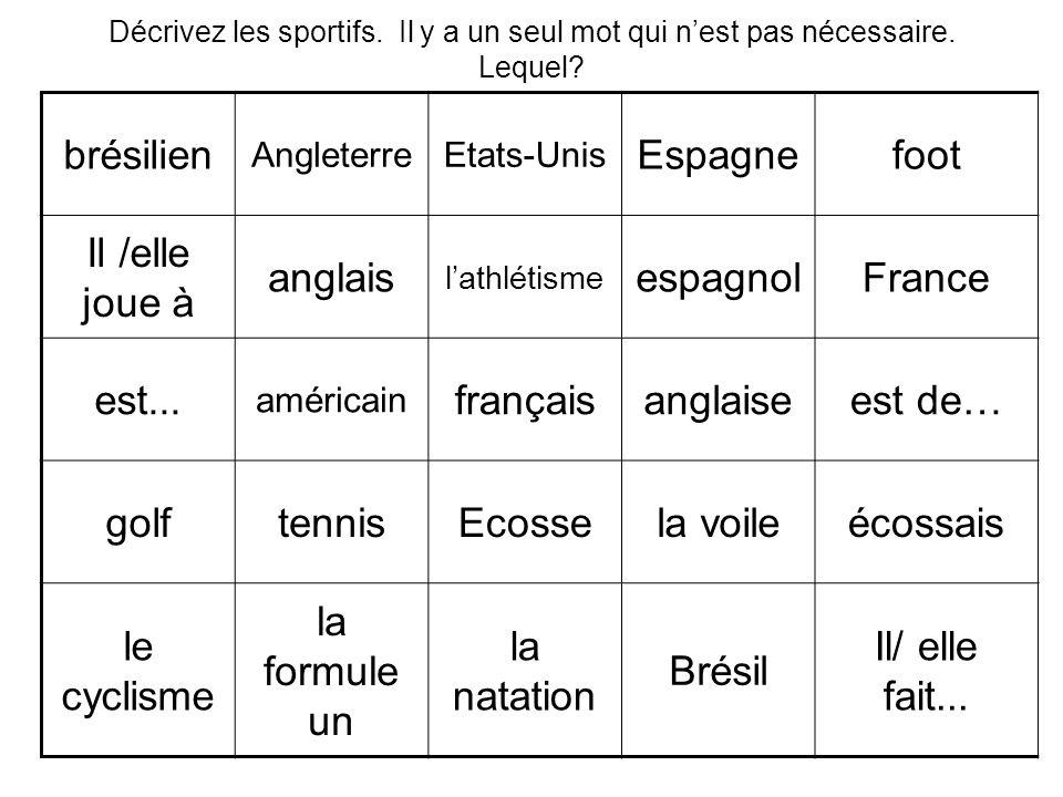 brésilien AngleterreEtats-Unis Espagnefoot Il /elle joue à anglais lathlétisme espagnolFrance est... américain françaisanglaiseest de… golftennisEcoss