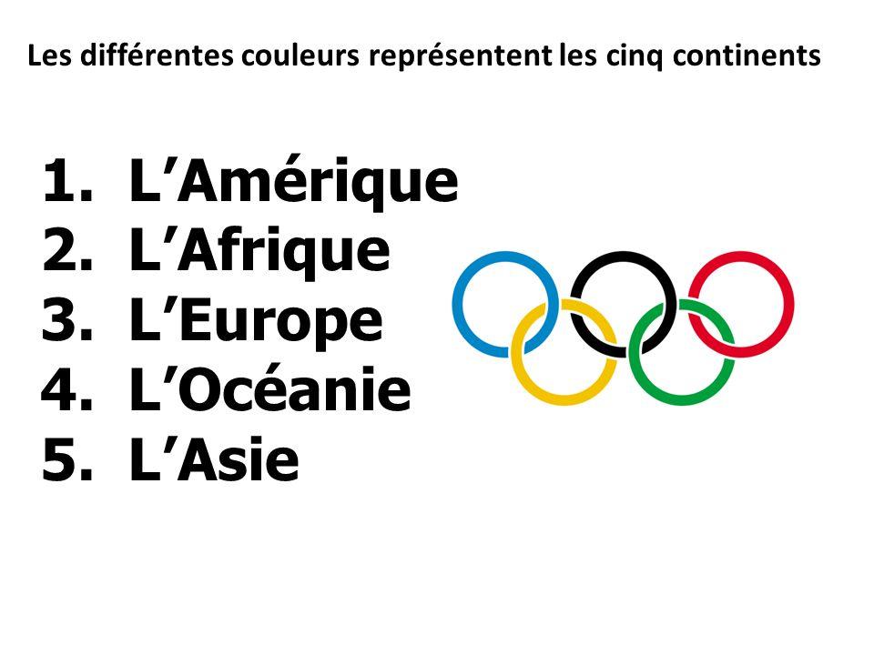 Les différentes couleurs représentent les cinq continents 1.LAmérique 2.LAfrique 3.LEurope 4.LOcéanie 5.LAsie