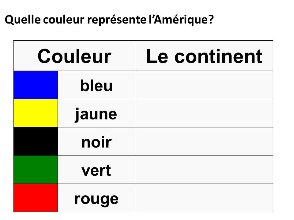 Quelle couleur représente lAmérique? CouleurLe continent bleu jaune noir vert rouge