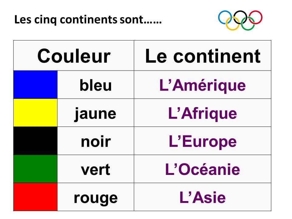 Les cinq continents sont…… CouleurLe continent bleuLAmérique jauneLAfrique noirLEurope vertLOcéanie rougeLAsie