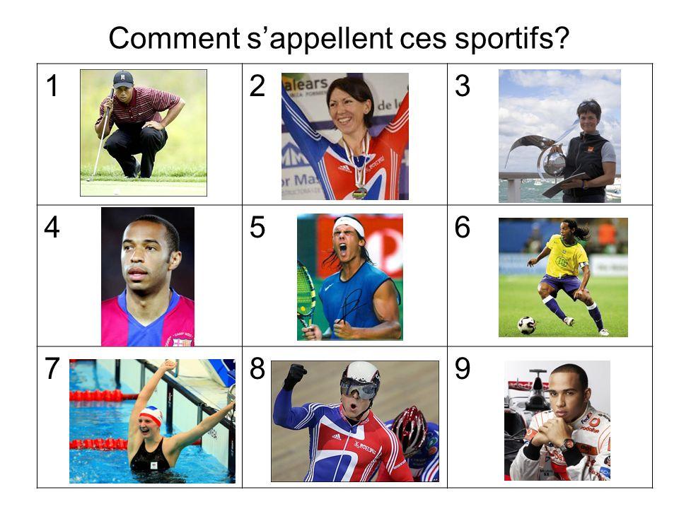 123 456 789 Comment sappellent ces sportifs?