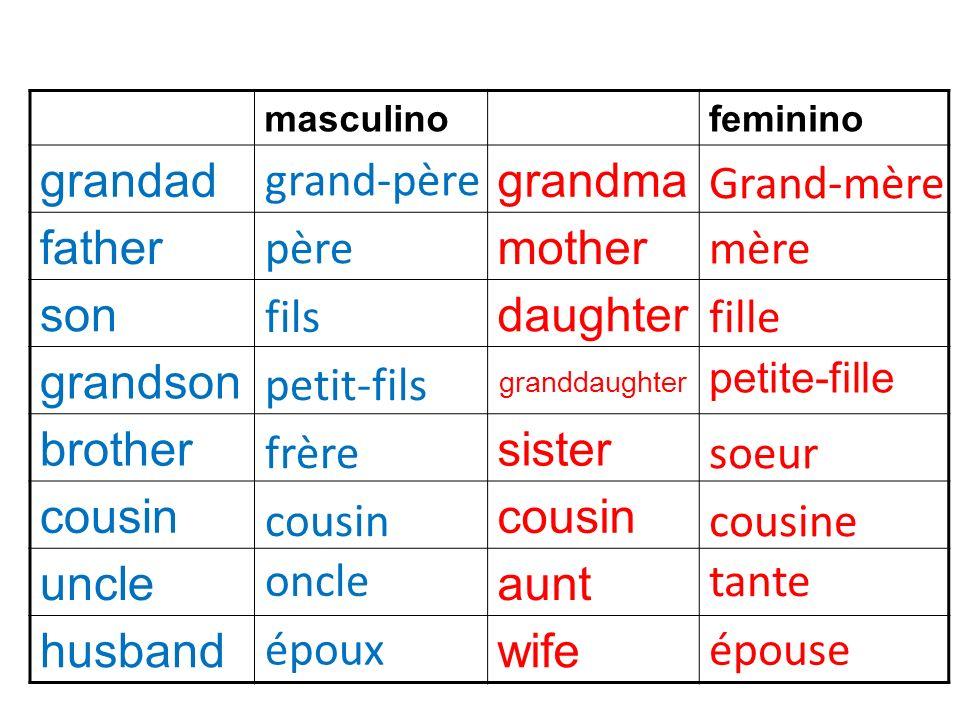 masculinofeminino grandadgrandma fathermother sondaughter grandson granddaughter petite-fille brothersister cousin uncleaunt husbandwife Grand-mère mè