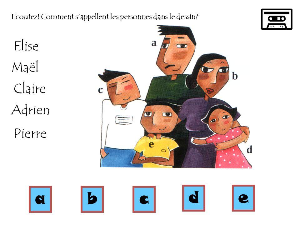 Ecoutez! Comment sappellent les personnes dans le dessin? abc de Elise Maël Claire Adrien Pierre