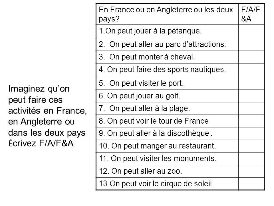 En France ou en Angleterre ou les deux pays? F/A/F &A 1.On peut jouer à la pétanque. 2. On peut aller au parc dattractions. 3. On peut monter à cheval