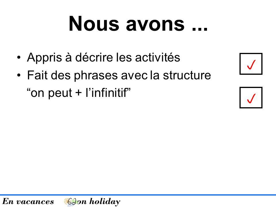 Appris à décrire les activités Fait des phrases avec la structure on peut + linfinitif Nous avons... En vacances on holiday
