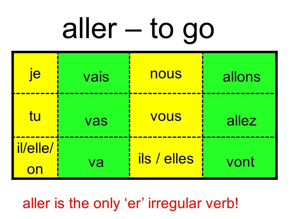 jenous tutuvous il/elle/ on ils / elles vais vas va allons allez vont aller is the only er irregular verb.
