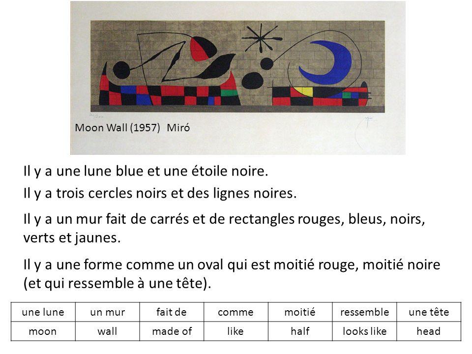 Moon Wall (1957) Miró Il y a une lune blue et une étoile noire.