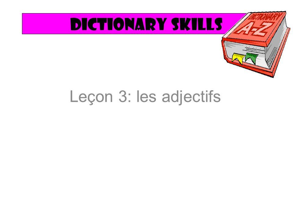 Dictionary skills Leçon 3: les adjectifs