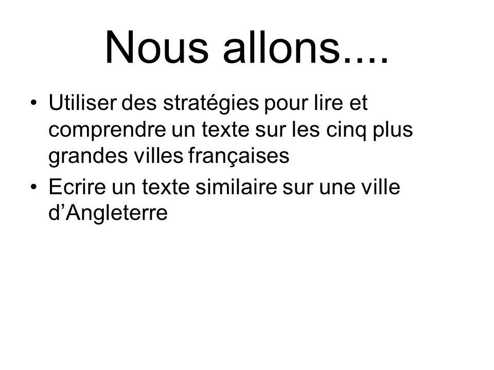Nous allons.... Utiliser des stratégies pour lire et comprendre un texte sur les cinq plus grandes villes françaises Ecrire un texte similaire sur une
