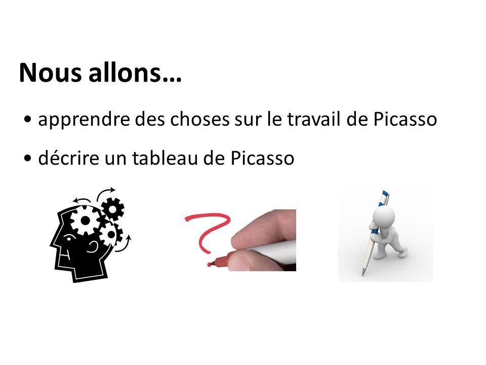 Nous allons… apprendre des choses sur le travail de Picasso décrire un tableau de Picasso