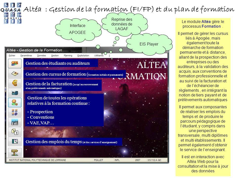18 Altéa : Gestion de la formation (FI/FP) et du plan de formation EIS Player Le module Altéa gère le processus Formation. Il permet de gérer les curs