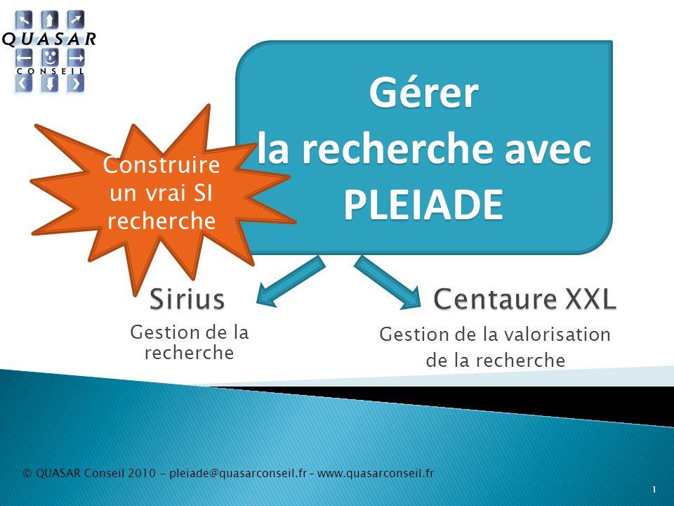 Gestion de la valorisation de la recherche © QUASAR Conseil 2010 – pleiade@quasarconseil.fr – www.quasarconseil.fr 1 Gestion de la recherche Gérer la