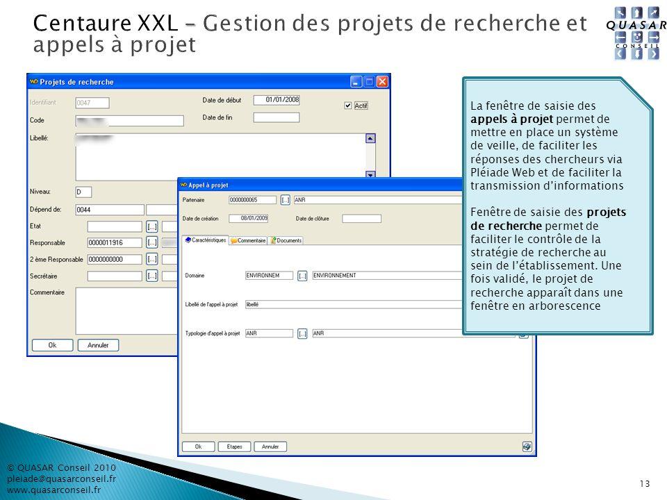 © QUASAR Conseil 2010 pleiade@quasarconseil.fr www.quasarconseil.fr 13 La fenêtre de saisie des appels à projet permet de mettre en place un système d