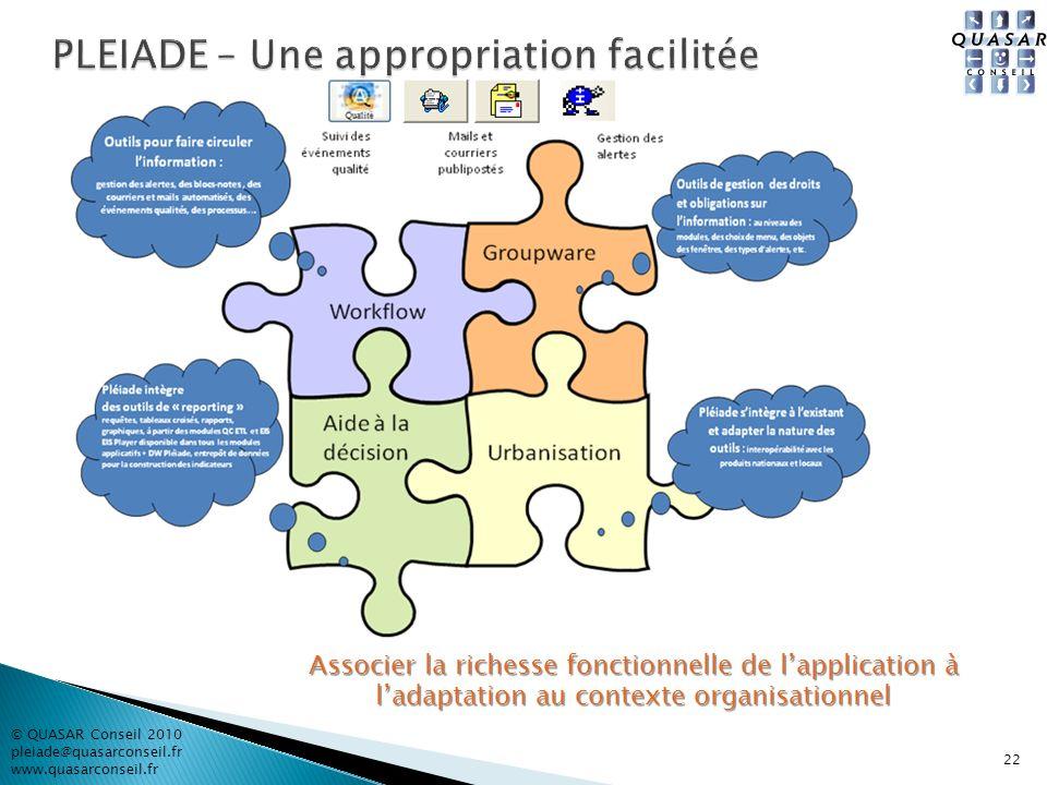 22 © QUASAR Conseil 2010 pleiade@quasarconseil.fr www.quasarconseil.fr Associer la richesse fonctionnelle de lapplication à ladaptation au contexte or