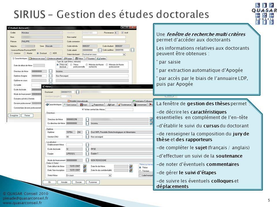 5 © QUASAR Conseil 2010 pleiade@quasarconseil.fr www.quasarconseil.fr Une fenêtre de recherche multi critères permet daccéder aux doctorants Les infor