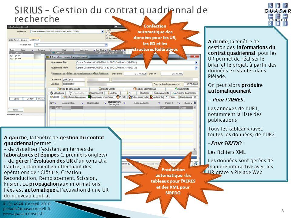 8 © QUASAR Conseil 2010 pleiade@quasarconseil.fr www.quasarconseil.fr Confection automatique des données pour les UR, les ED et les structures fédérat