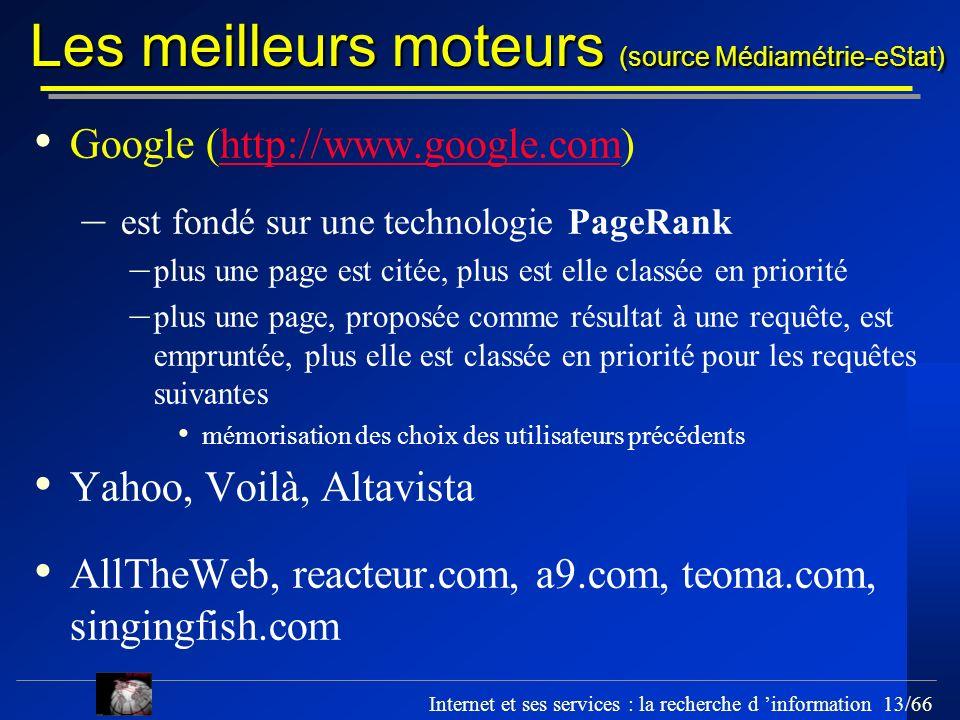 Internet et ses services : la recherche d information 13/66 Les meilleurs moteurs (source Médiamétrie-eStat) Google (http://www.google.com)http://www.