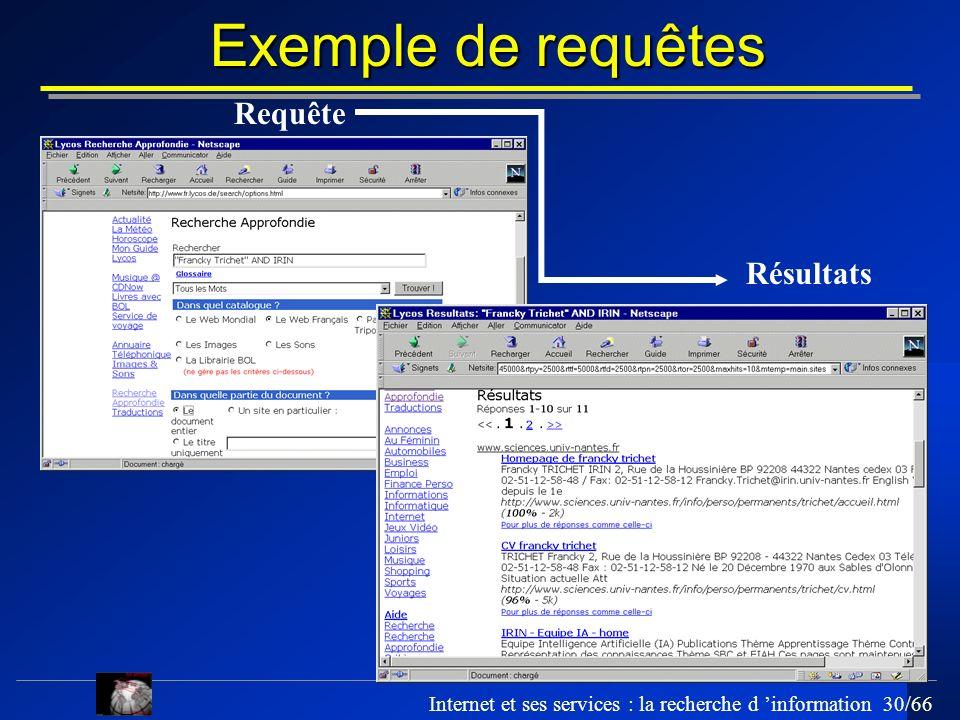 Internet et ses services : la recherche d information 30/66 Exemple de requêtes Requête Résultats
