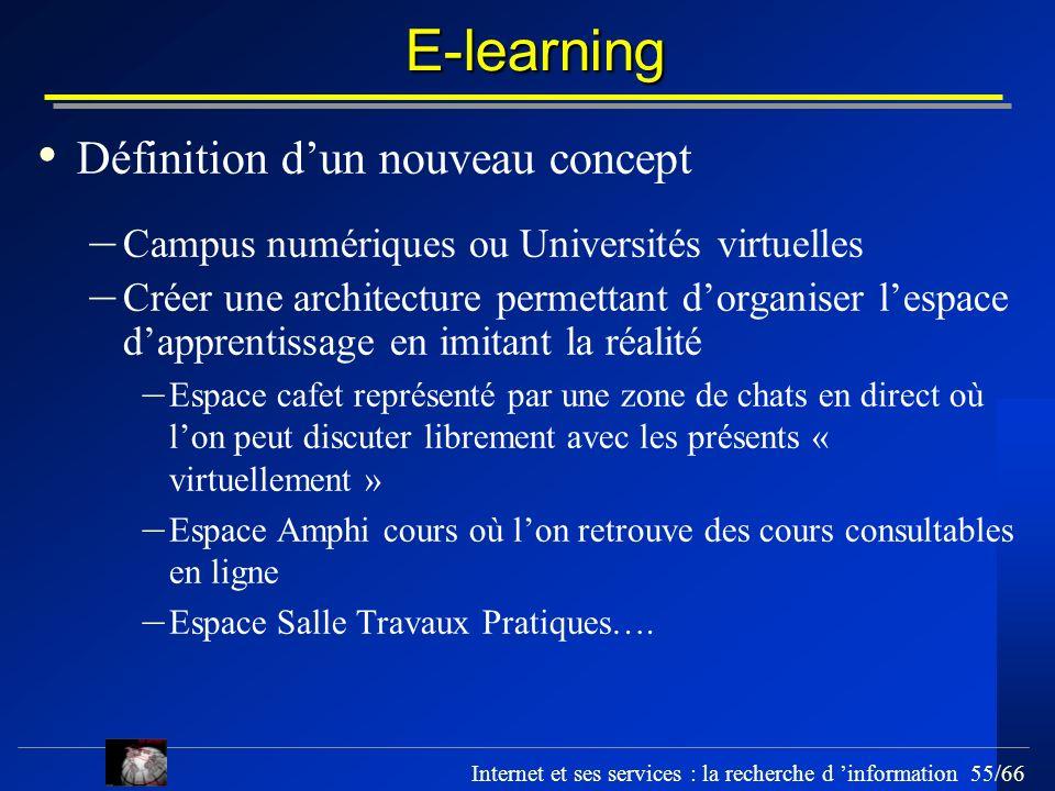 Internet et ses services : la recherche d information 55/66 E-learning Définition dun nouveau concept – Campus numériques ou Universités virtuelles –