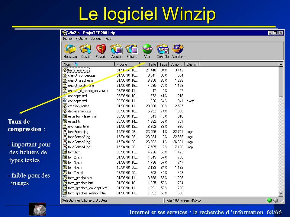 Internet et ses services : la recherche d information 68/66 Le logiciel Winzip Taux de compression : - important pour des fichiers de types textes - f