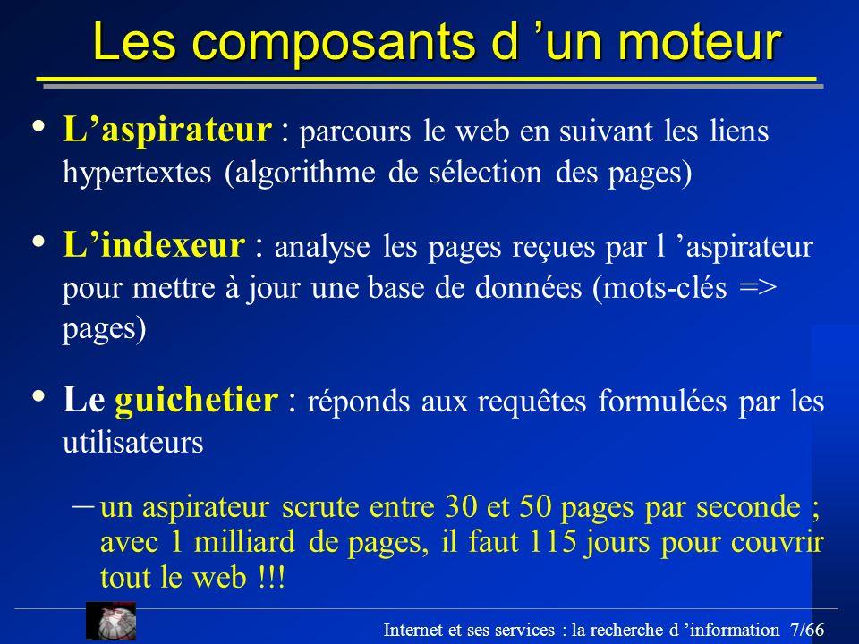 Internet et ses services : la recherche d information 7/66 Les composants d un moteur Laspirateur : parcours le web en suivant les liens hypertextes (