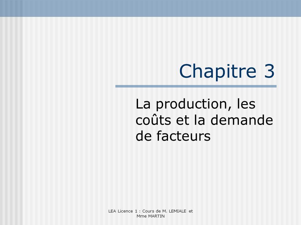 LEA Licence 1 : Cours de M. LEMIALE et Mme MARTIN Chapitre 3 La production, les coûts et la demande de facteurs