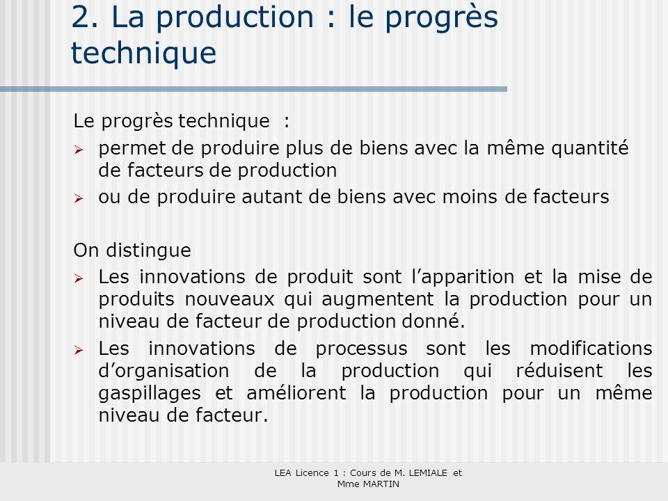 LEA Licence 1 : Cours de M. LEMIALE et Mme MARTIN 2. La production : le progrès technique Le progrès technique : permet de produire plus de biens avec