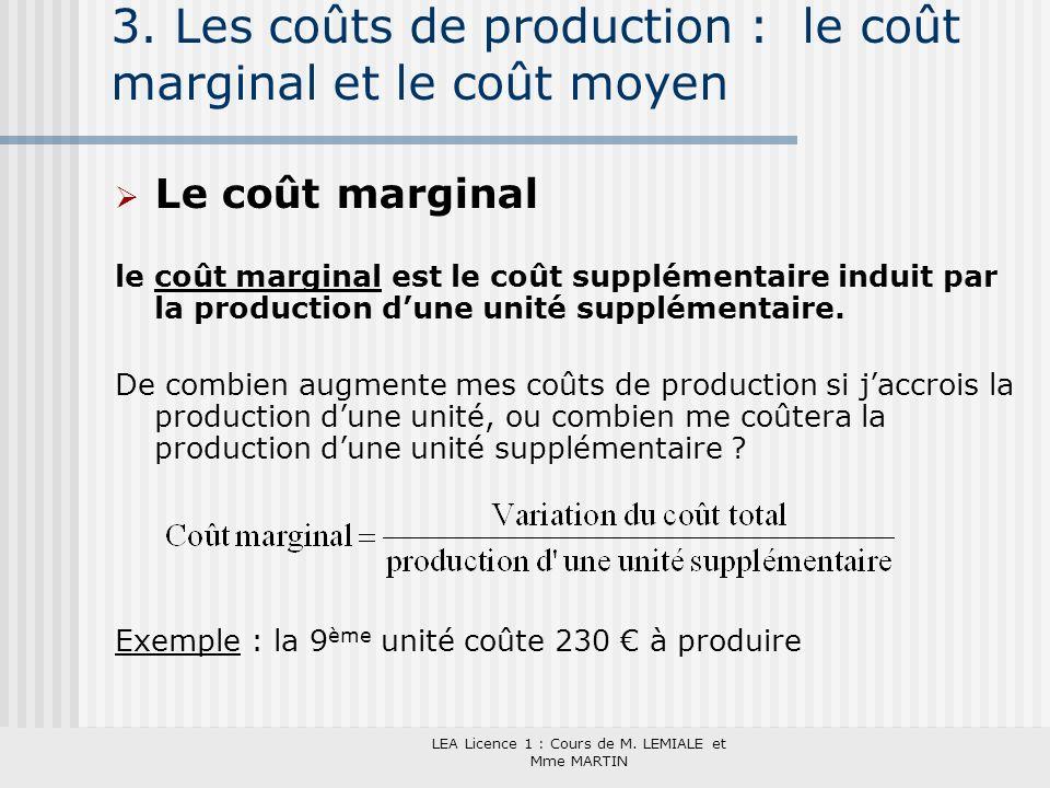 LEA Licence 1 : Cours de M. LEMIALE et Mme MARTIN 3. Les coûts de production : le coût marginal et le coût moyen Le coût marginal le coût marginal est