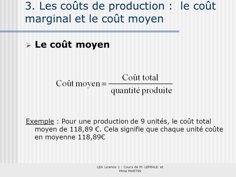 LEA Licence 1 : Cours de M. LEMIALE et Mme MARTIN 3. Les coûts de production : le coût marginal et le coût moyen Le coût moyen Exemple : Pour une prod
