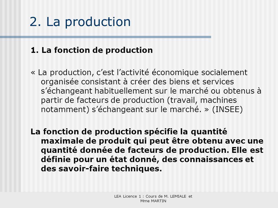 LEA Licence 1 : Cours de M. LEMIALE et Mme MARTIN 2. La production 1. La fonction de production « La production, cest lactivité économique socialement