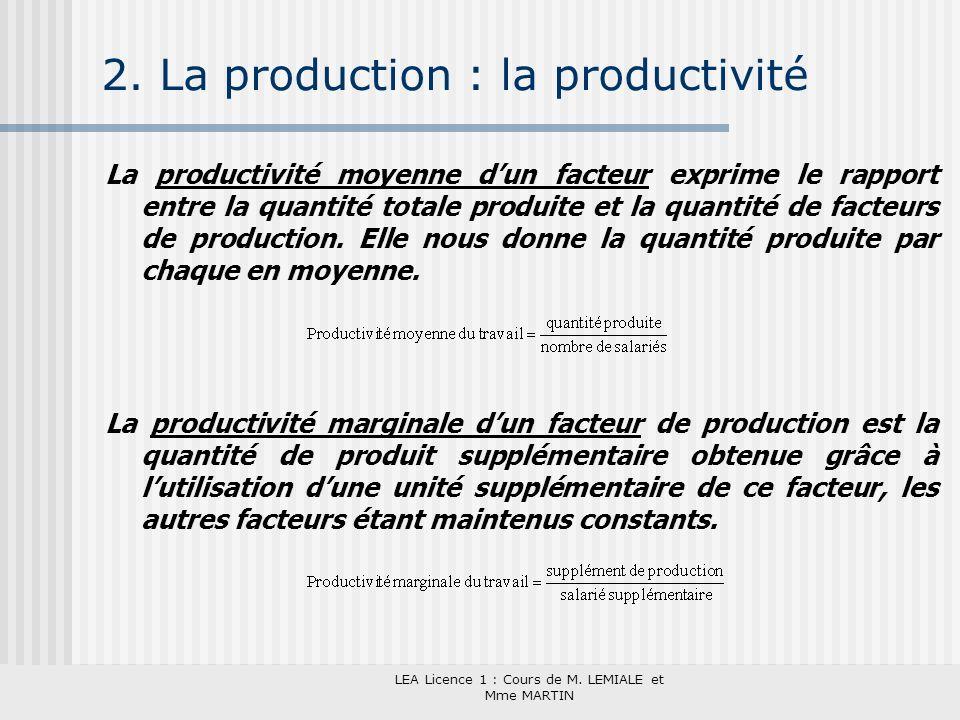 LEA Licence 1 : Cours de M. LEMIALE et Mme MARTIN 2. La production : la productivité La productivité moyenne dun facteur exprime le rapport entre la q