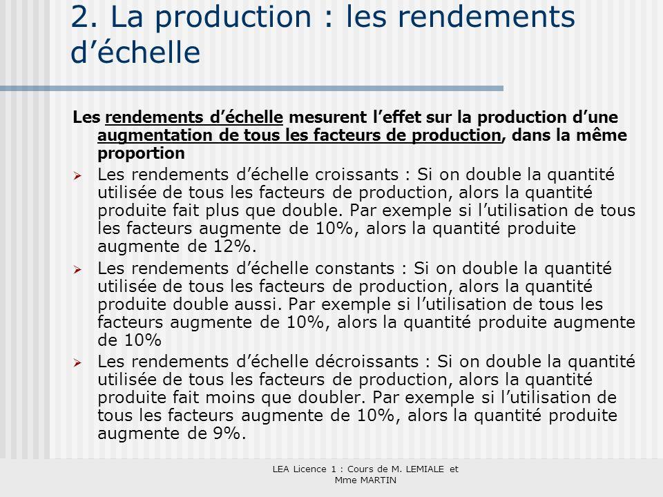 LEA Licence 1 : Cours de M. LEMIALE et Mme MARTIN 2. La production : les rendements déchelle Les rendements déchelle mesurent leffet sur la production